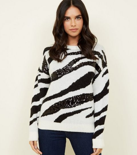 76069b1d5b7 ... White Sequin Zebra Stripe Jumper ...