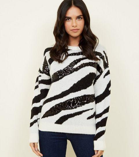 24e1be8d96b ... White Sequin Zebra Stripe Jumper ...
