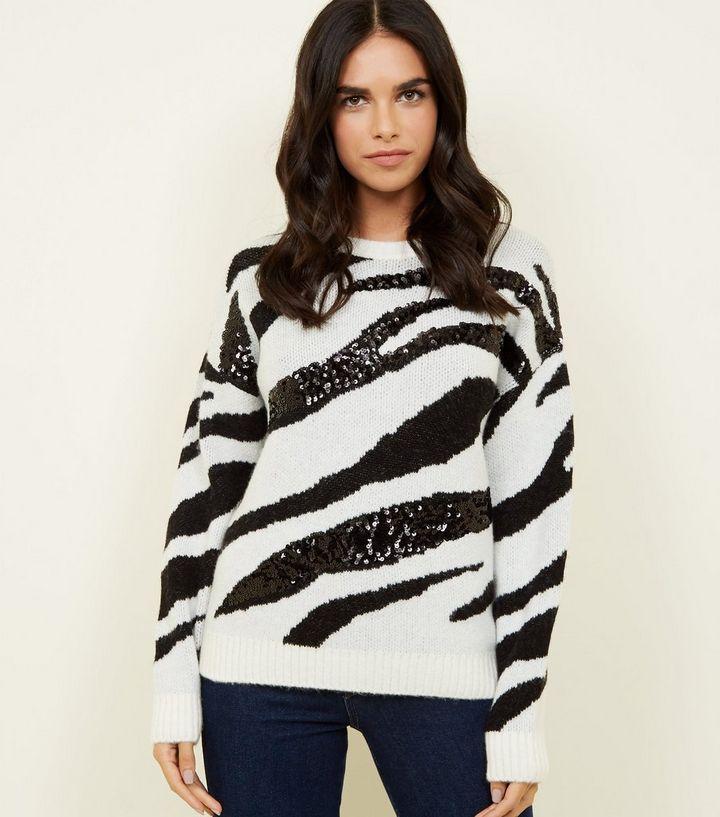 d25a91a0fb1 White Sequin Zebra Stripe Jumper