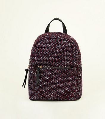 Black Trim Berry Boucle Back Pack