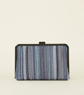 Pewter Stripe Glitter Snap Fasten Clutch