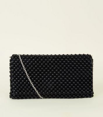 Black Beaded Foldover Clutch Bag
