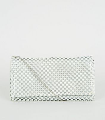 Off White Beaded Foldover Clutch Bag