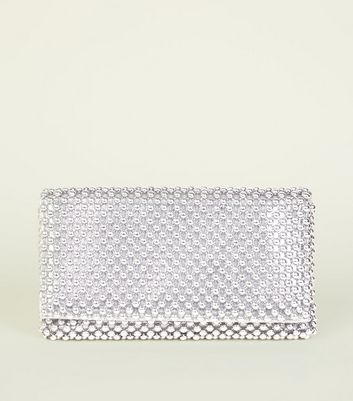 Silver Beaded Foldover Clutch Bag