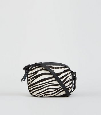 Black Leather Faux Zebra Cross Body Bag