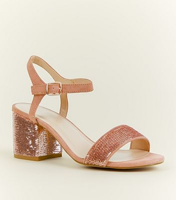 Girls Rose Gold Sequin and Suedette Sandals