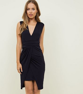 Mela Navy Wrap Front Waterfall Dress