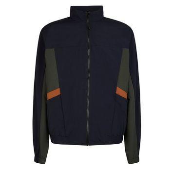 shop for Men's Navy Colour Block Funnel Neck Jacket New Look at Shopo
