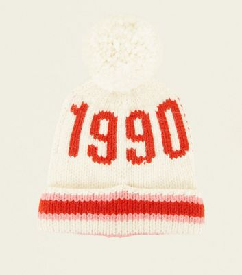 Pink and White 1990 Bobble Hat