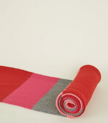 Pink and Red Colour Block Stripe Knit Scarf