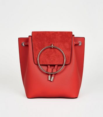 Red Metal Ring Front Backpack