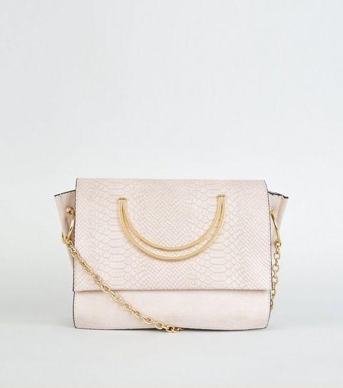 8981d48023 ... Cream Faux Snake Circle Handle Cross Body Bag ...