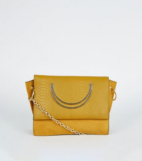 f6f5d4bd5b ... Mustard Faux Snake Circle Handle Cross Body Bag ...