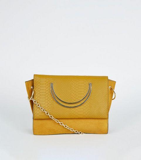2c1748043e ... Mustard Faux Snake Circle Handle Cross Body Bag ...