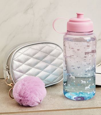 Pink Ombré Unicorn Print 1 Litre Water Bottle by New Look