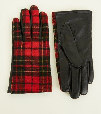 Red Leather and Tartan Touchscreen Gloves New Look