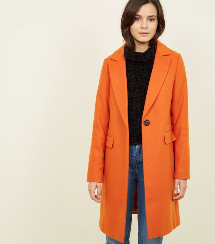 1a25fa899514 Bright Orange Neon Longline Coat