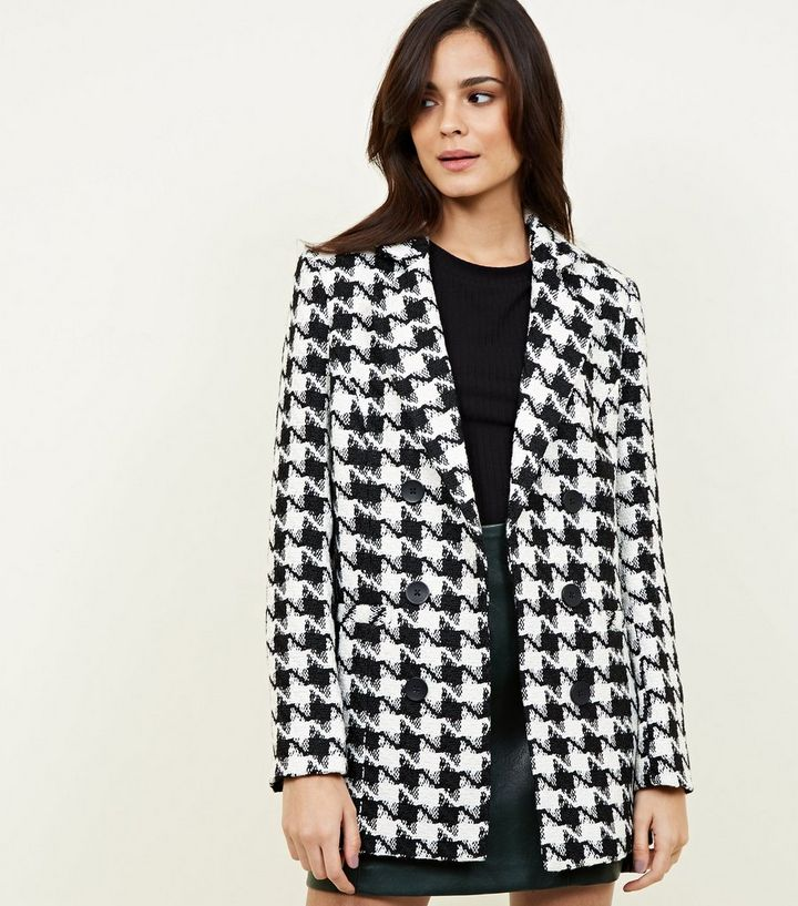 5cbaebd86 Black Houndstooth Check Jacket | New Look