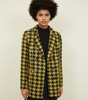 Yellow Houndstooth Check Jacket