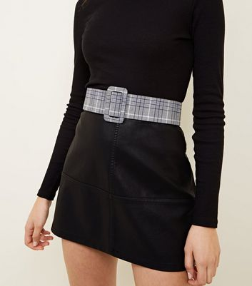 Grey Check Square Buckle Waist Belt
