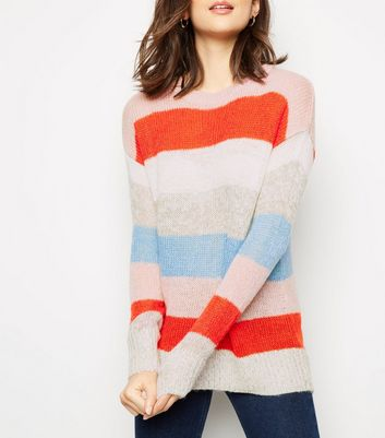 Multicoloured Colour Block Knitted Jumper