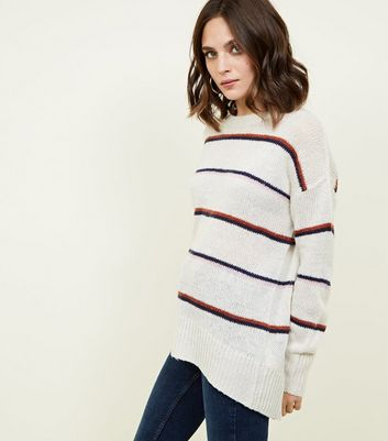 Off White Stripe Oversized Jumper