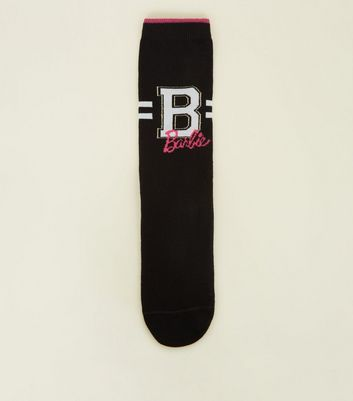Black Barbie Sparkle Sports Socks by New Look