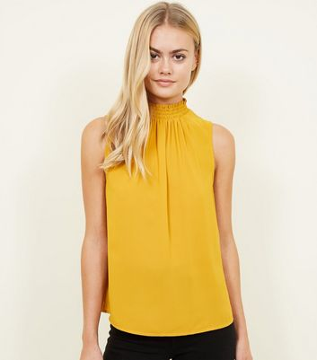 Yellow Shirred Neck Sleeveless Shirt