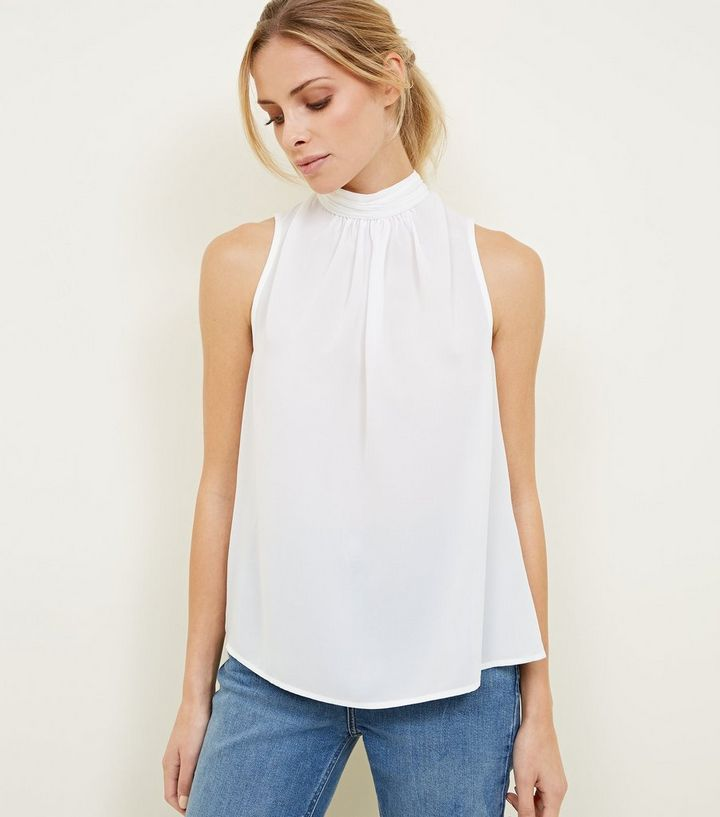 fd3168a7cbd722 Off White Gathered High Neck Sleeveless Top