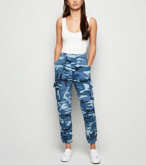 2bfd941c24c77 ... Blue Camo Pocket Denim Utility Trousers ...