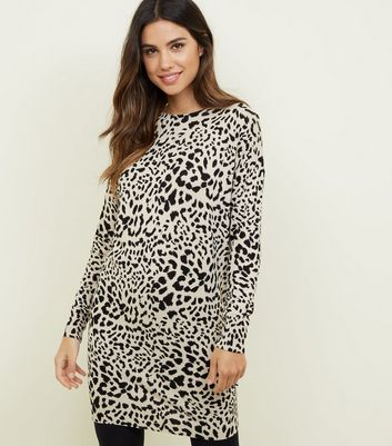 Brown Leopard Print Jumper Dress