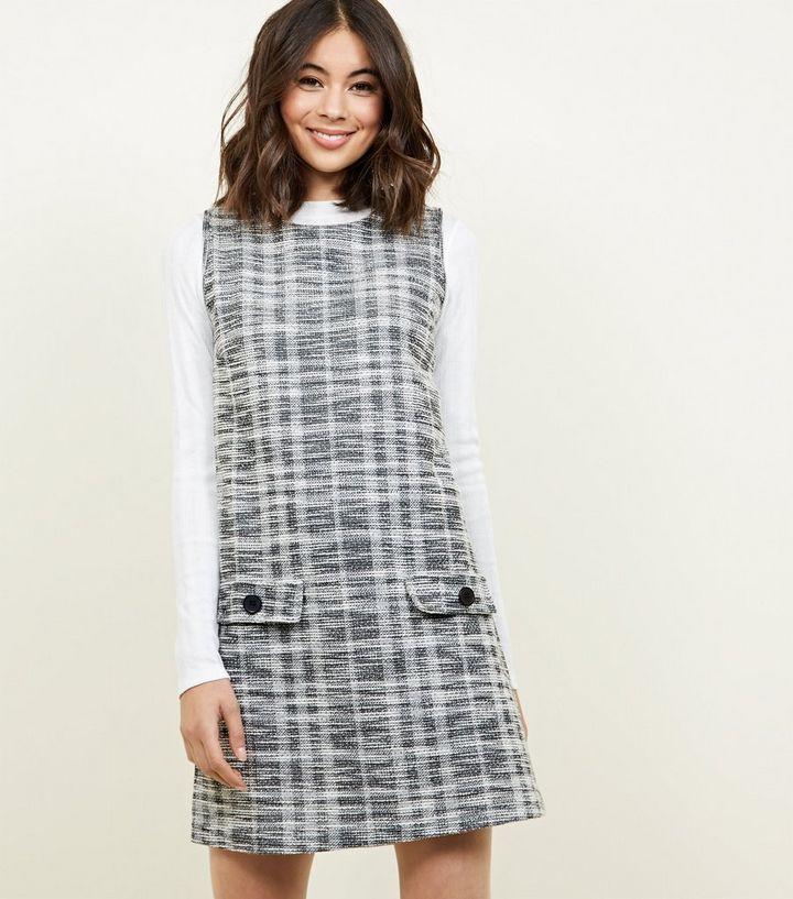 fae5be67ab4 Grey Bouclé Check Sleeveless Tunic Dress