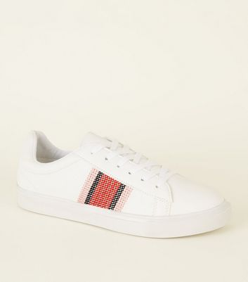 White Cross Stitch Side Lace-Up Trainers