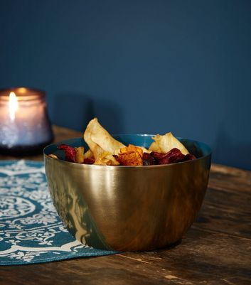 Teal and Gold Metal Bowl