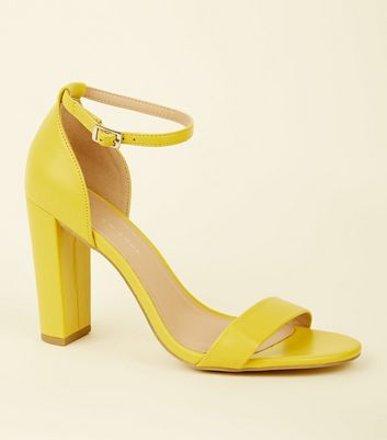 Wide Fit Yellow Block Heeled Sandals