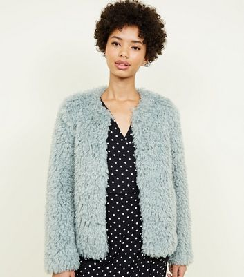 Mint Green Curly Faux Fur Jacket