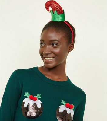 Green and Red Elf Christmas Headband