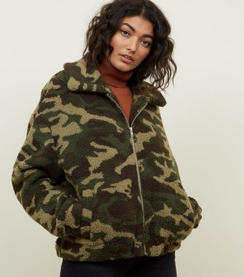 Green Camo Teddy Bomber Jacket