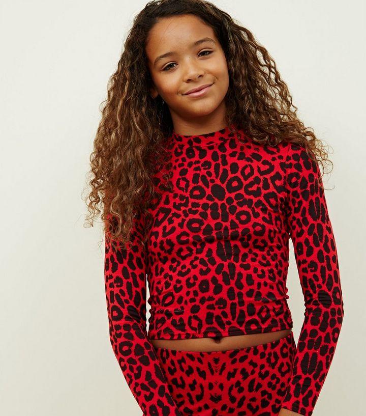 9936552d06a8f Girls Red Long Sleeve High Neck Leopard Print Top