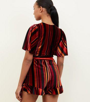 Black Multi Stripe Velvet Frill Shorts New Look
