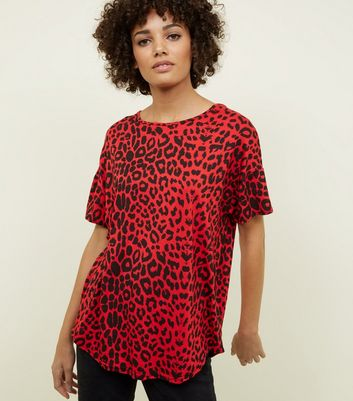Red Leopard Print Oversized T-Shirt
