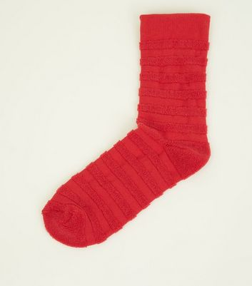 Red Striped Texture Sports Sock