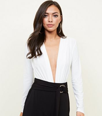 White Ruched Plunge Neck Bodysuit