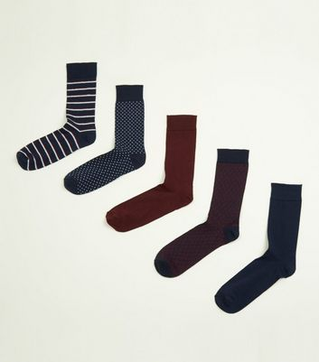 5 Pack Blue and Burgundy Mix Patterned Socks