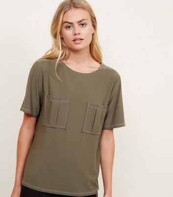 Khaki Contrast Stitch Pocket Front T-Shirt