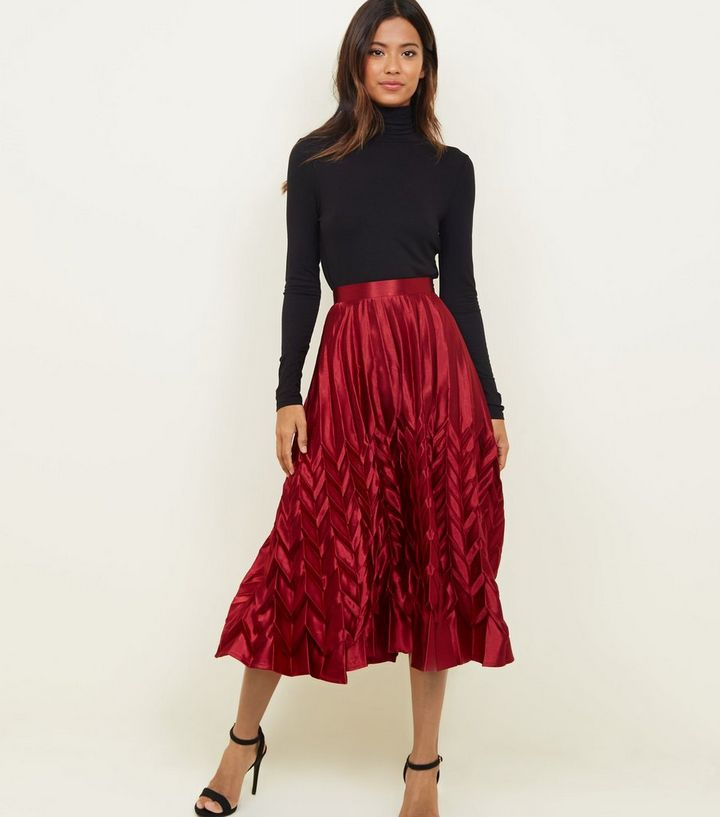 c145c8ede6b2f5 Cameo Rose Burgundy Pleated Satin Midi Skirt | New Look
