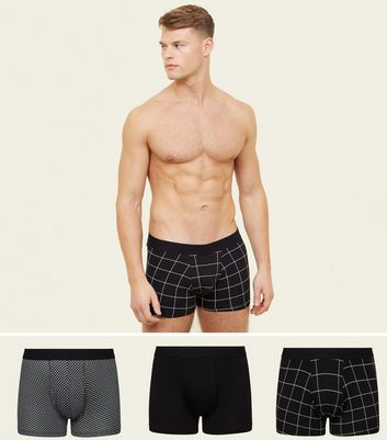 3 Pack Black Patterned Trunks