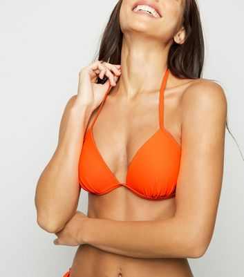 ... Orange Moulded Triangle Bikini Top ...