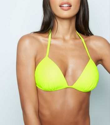 Yellow Neon Moulded Triangle Bikini Top