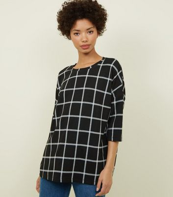Black Grid Check Print Zip Back Top